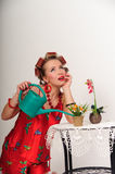 Sexy pin up housewife Royalty Free Stock Image