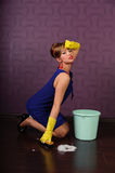 Sexy pin up housewife Royalty Free Stock Images