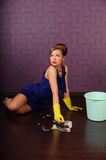 Sexy pin up housewife Stock Image