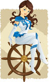 pin up sailor girl stock illustration