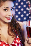 Sexy pin-up woman with champagne Stock Images