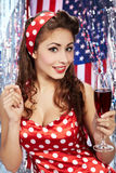 Sexy pin-up woman with champagne Royalty Free Stock Photos