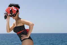 pin up woman near the sea Stock Images