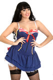 Sexy Pin Up Woman Wearing a Sexy Sailor Dress Stock Images