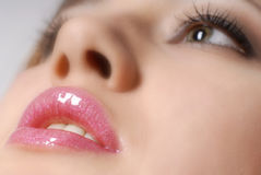Pink lips. Photography of the face with lower point, forshortening, close-up Stock Images
