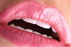 Sexy pink lips. Sexy mouth in a seductive position with pink glossy lipstick Stock Photo