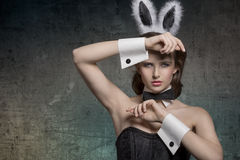 Sexy pinup with bunny ears Royalty Free Stock Photos