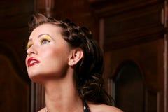 Pinup girl. In makeup stock photos