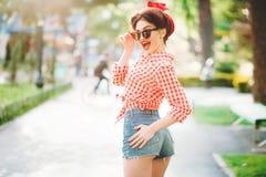 pinup girl outdoors, retro american fashion royalty free stock photo