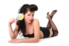 Sexy Pinup Model Holding Lollipop Royalty Free Stock Images