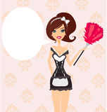 Sexy pinup style french maid. Illustration Royalty Free Stock Images