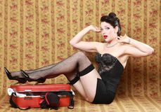 Sexy Pinup Style Vintage Image Stock Photography