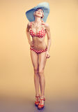 Sexy PinUp woman in polka dots swimsuit,beach body Royalty Free Stock Photos