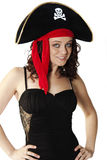 Sexy Pirate. Young sexy woman wearing a pirate hat Royalty Free Stock Images