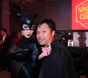 Sexy Playboy Girl. Bangkok - Oct 31: An unidentified Sexy playboy girl in Playboy's Gothic Halloween on October 31, 2014 at Grand Postal Building, Bangkok Stock Photo