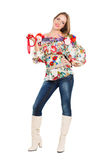 Sexy playful woman. Posing in flowery blouse. Isolated on white Stock Photography