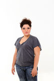 Plus size woman. In grey shirt royalty free stock photos