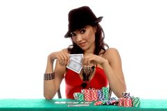 Sexy Poker Player Royalty Free Stock Photography