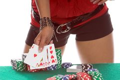 Sexy Poker Player Royalty Free Stock Images