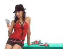 Sexy Poker Player Stock Photography