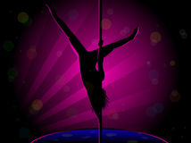 Sexy Pole Dance Silhouette Stock Photo