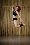 Sexy pole dance woman. Royalty Free Stock Photography