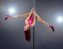 Sexy pole dance woman. Stock Photo