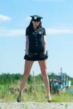 Sexy police woman Stock Photos