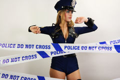 Sexy police woman Stock Photo