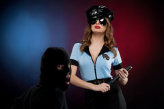 Sexy policewoman at work. Stock Images