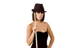 Sexy pool player. Sexy Asian model poses at a pool table Royalty Free Stock Photography
