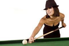 Sexy pool player. Sexy Asian model poses at a pool table Stock Photos