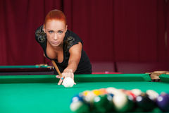 Sexy pool player. Royalty Free Stock Photo