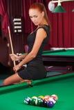 Sexy poolspeler. stock foto