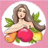 pop art woman with fruits vector illustration Royalty Free Stock Image