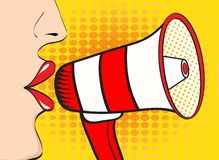 pop art woman mouth and megaphone speaking. Vector backgrou royalty free illustration
