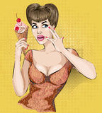 Sexy pop art woman portrait with ice cream Stock Image