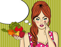 Sexy pop art woman with vegetables in his hand Royalty Free Stock Image