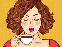 Sexy pop-artvrouw met koffiekop stock afbeelding