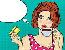Sexy pop-artvrouw met koffiekop vector illustratie