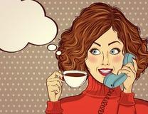 Sexy pop-artvrouw met koffiekop stock illustratie
