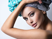 Sexy portrait of a beautiful girl with turban on head. Stock Images