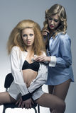 Sexy portrait of two blonde models Royalty Free Stock Photography