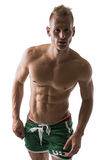 Sexy portrait of a very muscular blond shirtless male model Royalty Free Stock Photo