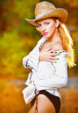 Sexy portrait woman with hat and white shirt Royalty Free Stock Photo