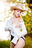 Sexy portrait woman with hat and white shirt Stock Photos