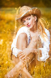 Sexy portrait woman with hat and white shirt Stock Image