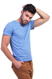 Sexy pose of a casual young man Royalty Free Stock Photos