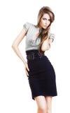 Sexy pretty businesswoman in skirt Stock Photos