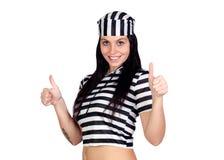 Sexy prisoner saying Ok Royalty Free Stock Photo